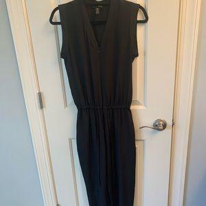 Aqua black silk material jumpsuit